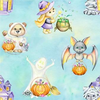 Aquarel naadloze patroon, op een turkooizen achtergrond. beer, konijn, hond, spook, in kostuums, voor halloween