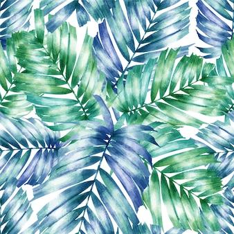 Aquarel naadloze patroon palm groene bladeren.