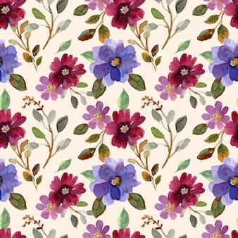 Aquarel naadloze patroon van paarse bloesems en bladeren