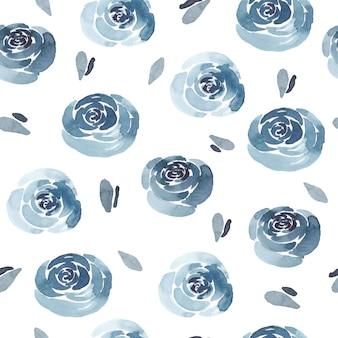 Aquarel naadloze rozen en blad patroon