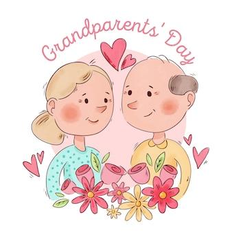 Aquarel nationale grootouders dagthema