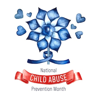 Aquarel nationale kindermishandeling preventie maand illustratie