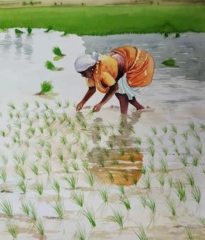 Aquarel natuur landschap en landelijke dorpsleven hand getekende illustratie