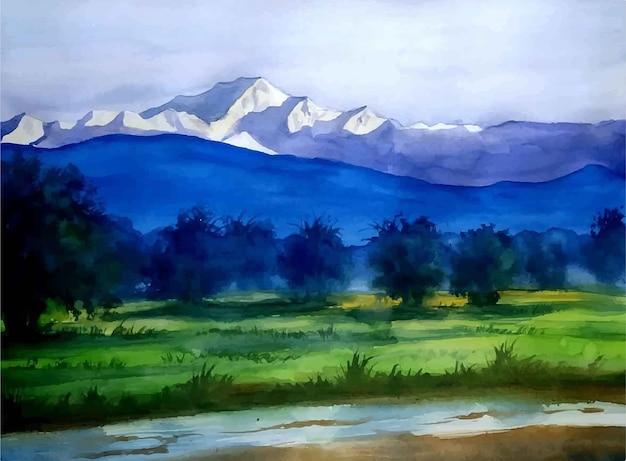 Aquarel natuur landschap en uitzicht op de bergen hand getrokken illustratie