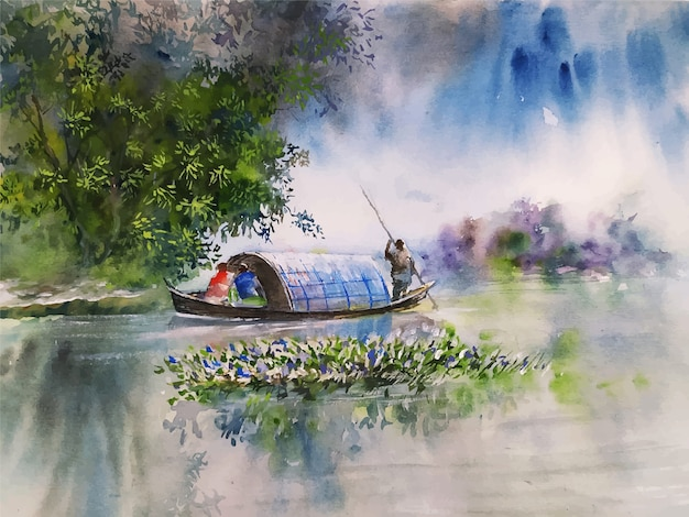 Aquarel natuur landschap schets op hand getrokken illustratie