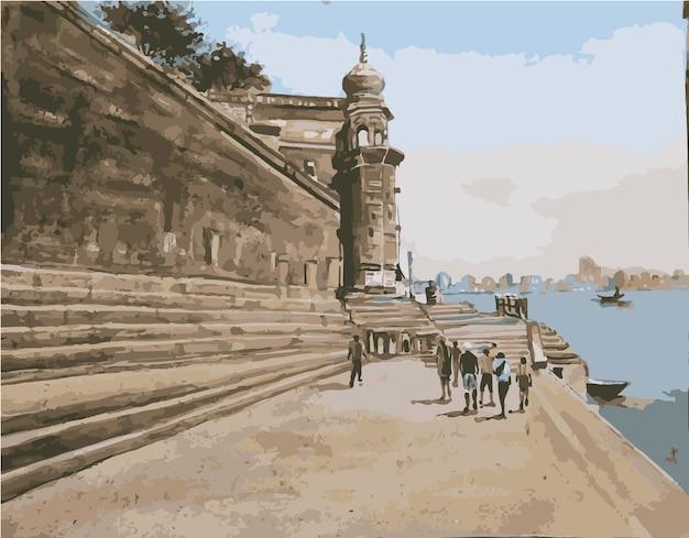 Aquarel negentiende-eeuwse look traditioneel gebouw in de zee strand hand getekende illustratie