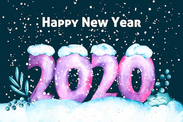 Aquarel nieuwjaar 2020 behang