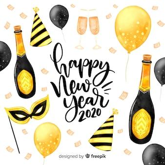Aquarel nieuwjaar 2020 met ballonnen