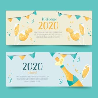 Aquarel nieuwjaar 2020 partij banners