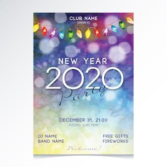 Aquarel nieuwjaar 2020 partij poster sjabloon