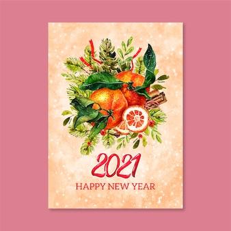 Aquarel nieuwjaar 2021 kaart