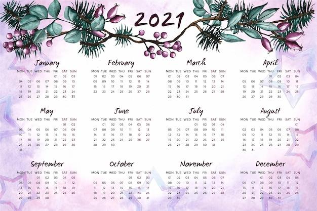 Aquarel nieuwjaar 2021 kalender