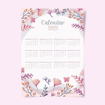 Aquarel nieuwjaar 2021 kalendersjabloon