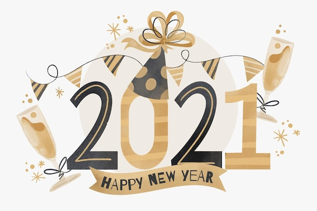 Aquarel nieuwjaar 2021