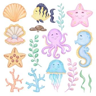 Aquarel onderwaterwereld illustraties zeedieren afdrukbare kunst