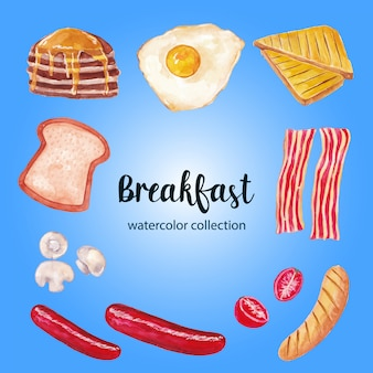 Aquarel ontbijt illustratie