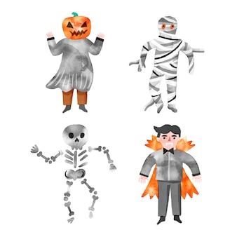 Aquarel ontwerp halloween karakter collectie