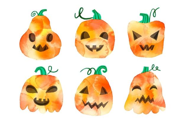 Aquarel ontwerp halloween pompoenen