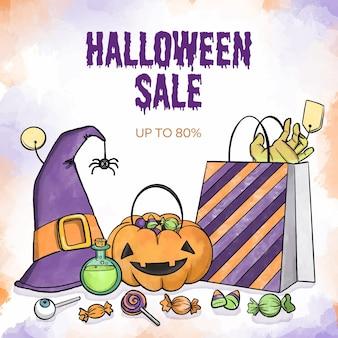 Aquarel ontwerp halloween verkoop