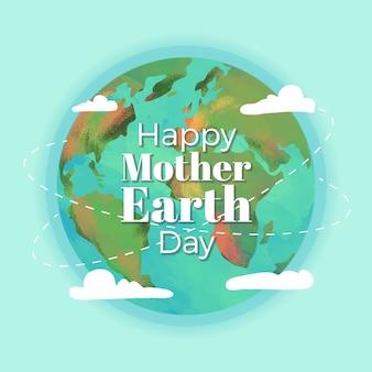 Aquarel ontwerp moeder aarde dag
