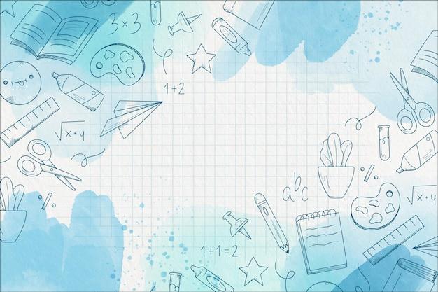 Aquarel ontwerp terug naar school achtergrond