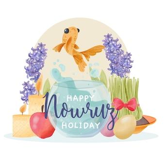 Aquarel ontwerp voor nowruz-evenement