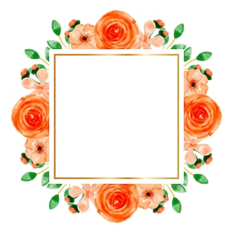 Aquarel oranje bloem frame achtergrond