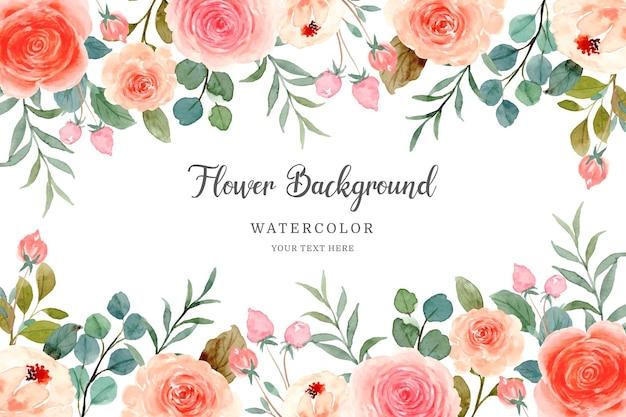 Aquarel oranje roze roos achtergrond
