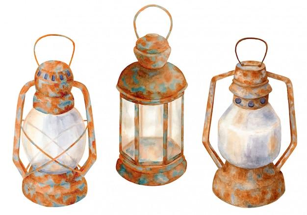 Aquarel oude roestige lampen, vintage kerosine lantaarns set
