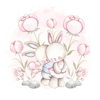 Aquarel paar konijn met bloem