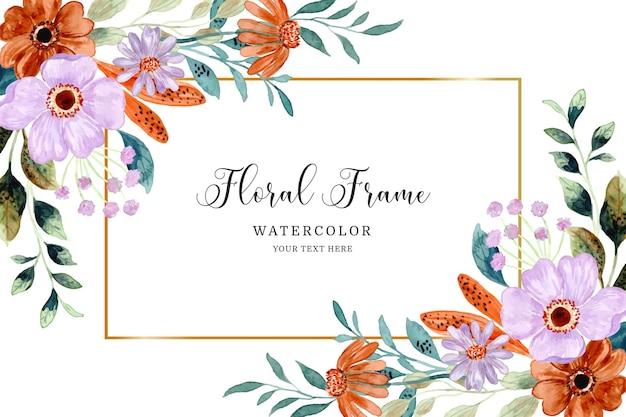 Aquarel paars bruin bloem frame achtergrond