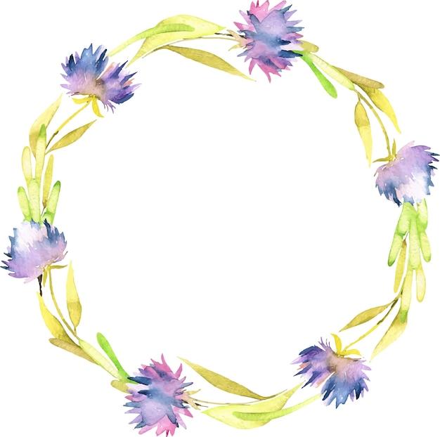 Aquarel paarse asters krans