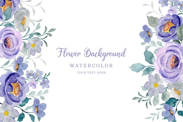Aquarel paarse bloem frame
