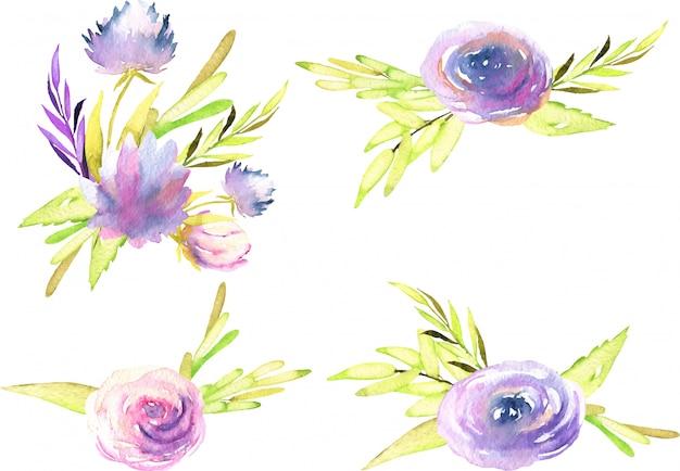 Aquarel paarse en roze pioenrozen, rozen en asters boeketten
