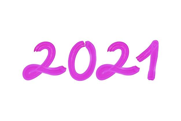 Aquarel paarse penseelstreek nieuwe jaar 2021 achtergrond