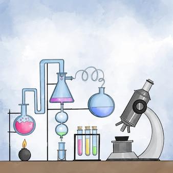 Aquarel pack van science lab-objecten