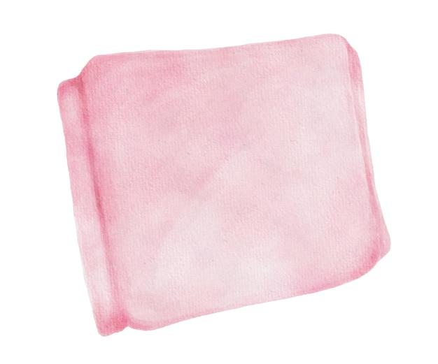 Aquarel pad verzegeld in roze productverpakking voor vrouwelijke hygiëne