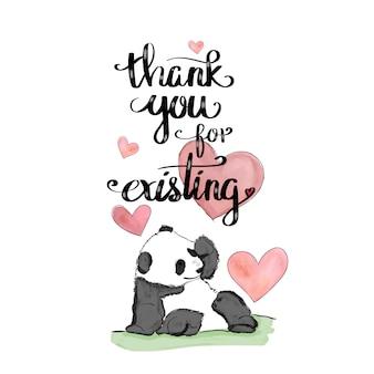 Aquarel panda illustratie