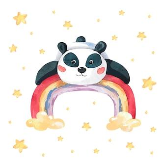 Aquarel panda op een regenboog tussen de sterren
