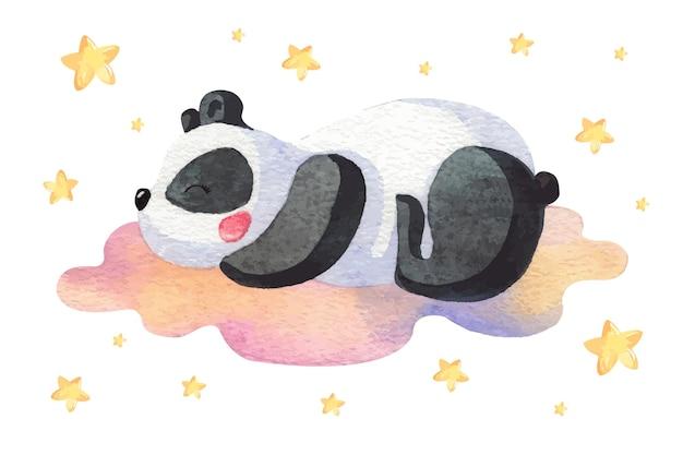 Aquarel panda op een wolk tussen de sterren