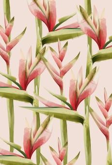 Aquarel paradijsvogel bloemenpatroon.