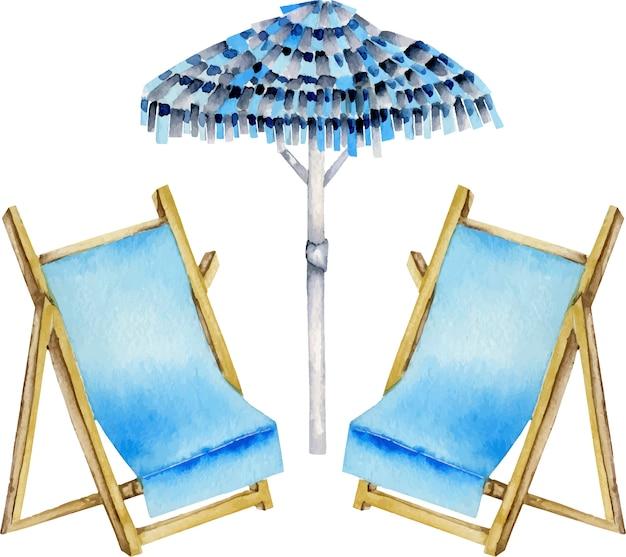 Aquarel parasol en ligbedden illustratie