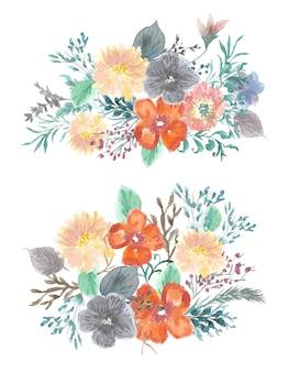 Aquarel pastel bloemenboeket collectie