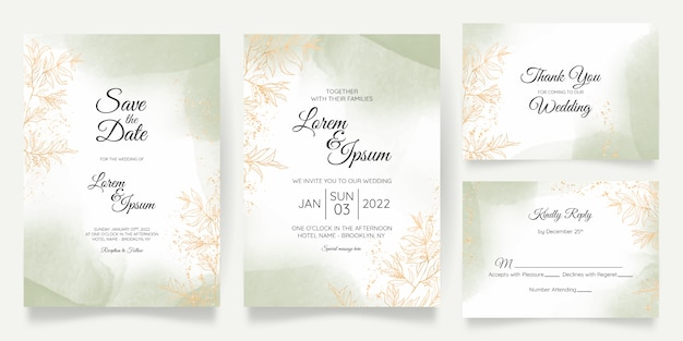 Aquarel pastel bruiloft uitnodiging kaartsjabloon ingesteld met gouden bloemendecoratie