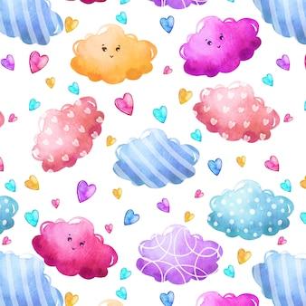 Aquarel patroon met wolken en harten