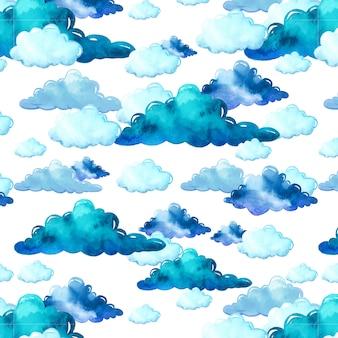 Aquarel patroon met wolken