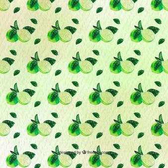 Aquarel patroon van groene kalk