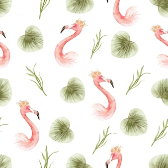 Aquarel patroon van paradijs flamingo