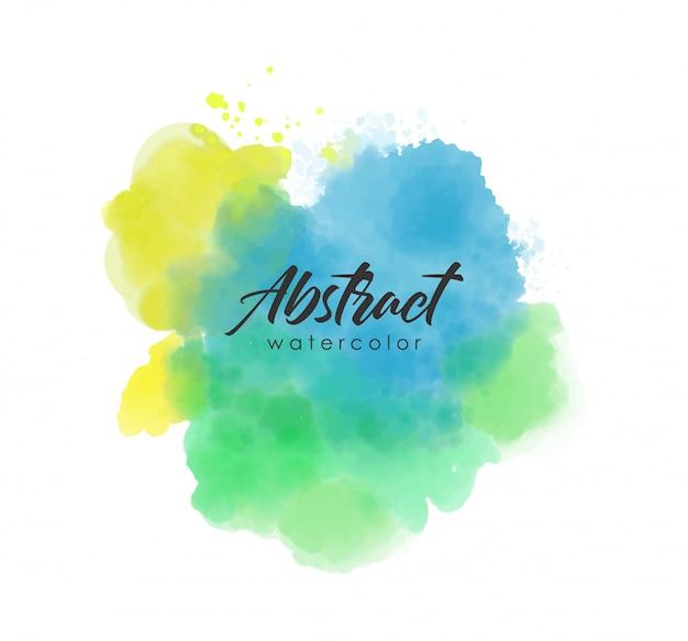 Aquarel penseelstreek, abstract splash kleur, aquarel effect vector, blauw, groen en geel gekleurde textuur
