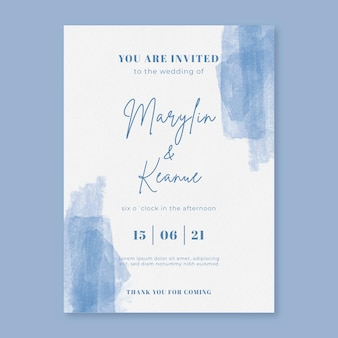 Aquarel penseelstreek bruiloft uitnodiging